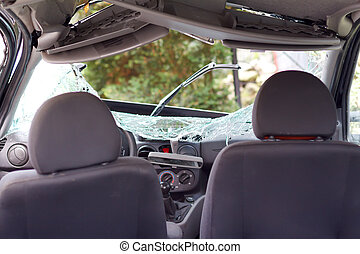 Car accident - Interior view of a smashed family car after...