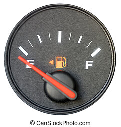 Vehicle fuel gauge on empty. Isolated in white