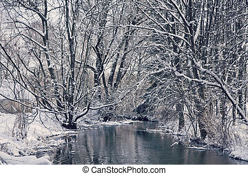 Bavarian idyllic winter landscape with river, trees and snow...