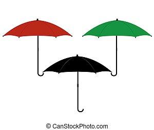 three umbrellas in different colors