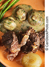 Lamb chops above view closeup - Lamb chops with mushrooms...