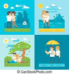 Flat design dating couple set illustration vector