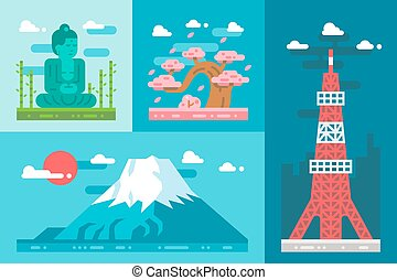 Flat design japan landmarks set illustration vector