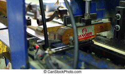 Woodworking plant View on running machine, close-up
