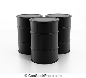 Oil barrels - Black raw oil barrels isolated on white