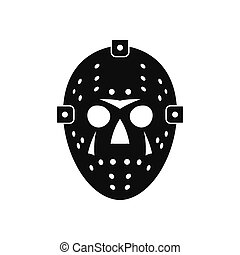 Halloween hockey mask black simple icon isolated on white...