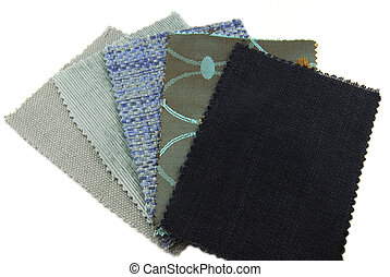 various samples of fabric choice in texture and blue color