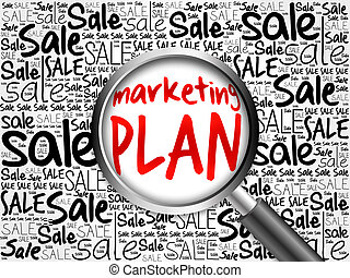 Marketing Plan sale word cloud with magnifying glass,...