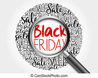 Black Friday sale word cloud with magnifying glass, business...