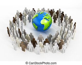 Global Communications concept with people around the earth.