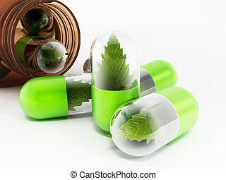 Herbal medicine concept with leaves inside pills.