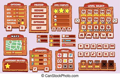 game gui - Complete set of graphical user interface GUI to...