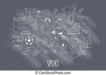 Hand drawn vector fitness and sport doodle icons set - Hand...