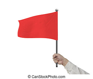 Man hand holding wavy red flag isolated in white background