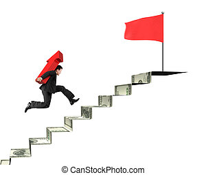 Businessman carrying arrow on money stairs to top red flag