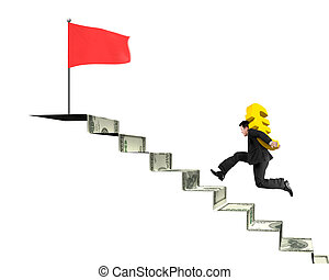 Businessman running, carrying gold Euro on money stairs to flag