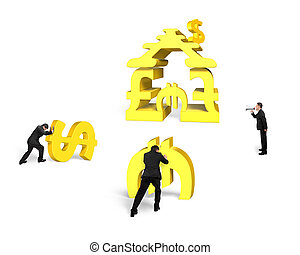 Businessmen teamwork for gold stacking money building with leader yelling
