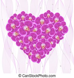 Orchid flowers in the form of a heart.