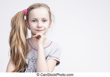 Portrait of Cheerful Smiling Caucasian Female Blond Kid...