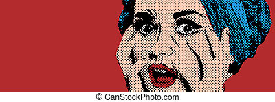 Pop art comic style woman, retro poster - Pop art comic...