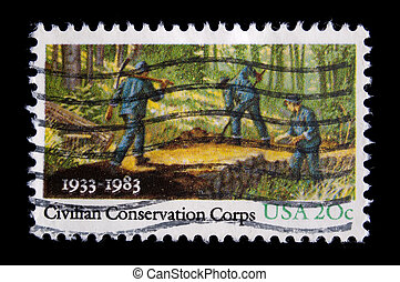 Vintage postage stamp - UNITED STATES - CIRCA 19 , image...