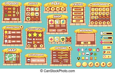 game gui 54 - Complete set of graphical user interface GUI...