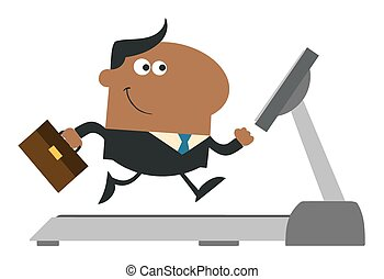 Businessman Running On A Treadmill