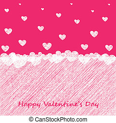 Valentines Day card with scribble hearts Vector eps 10