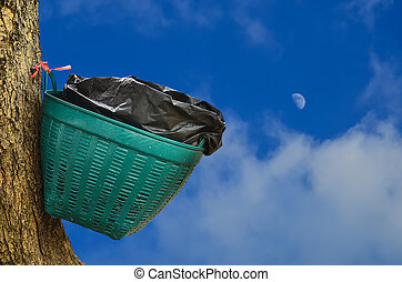 Waste basket on tree in blue sky  background