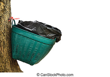 Waste basket on tree in white  background