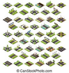 City Map Set Tiles Isometric - Flat 3d isometric street game...