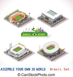 Game Set 10 Building Isometric - Vector isometric Stadium...