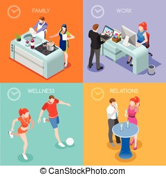 Life Time People Isometric - Time of Life Flat 3d Isometric...