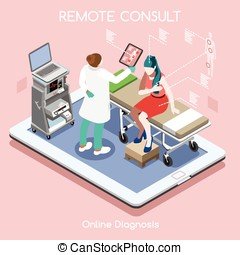 Remote Doctor People Isometric - Mobile online remote...