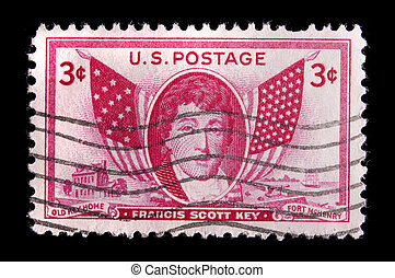 Vintage US commemorative postage stamp-Francis Scott Key -...