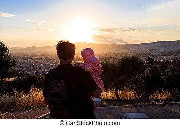 seine, Vater, schauen, Sonnenuntergang, Besitz,  baby