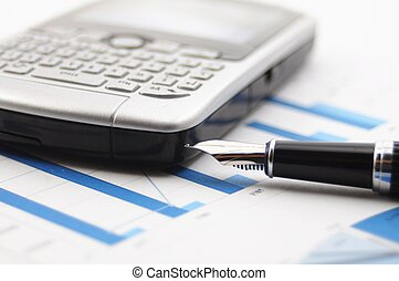 business data and blue diagram or chart showing financial...