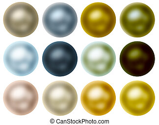 Round Pearl Buttons Set Isolated