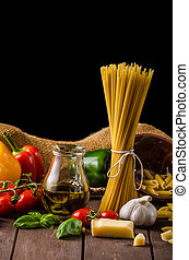 Still life photo, background with pasta and cheese