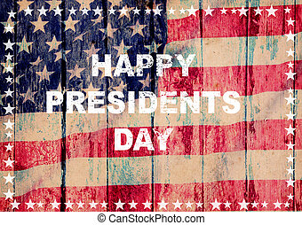 Happy president day greeting card american flag grunge...