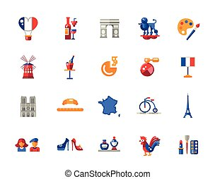 France travel icons and elements with famous French symbols...