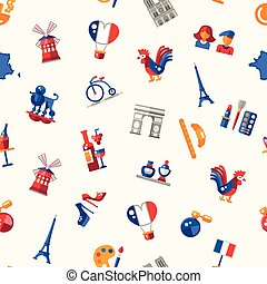 France travel icons seamless pattern with famous French...