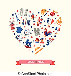 France travel icons heart postcard with famous French...