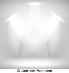 Stage Spotlight Background - Spotlights Isolated on Gray...