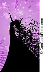 Silhouette of Opera Singer and Musical Symbols - Silhouette...