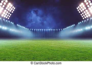 Football ground - View of emty illuminated football ground...