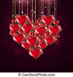 Heart Shape Valentine Red Background