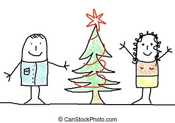 young couple with xmas tree - illustration of young couple...