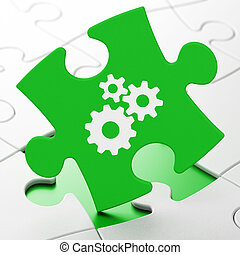 Business concept: Gears on puzzle background