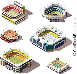 Vector isometric stadiums set - Set of the different...
